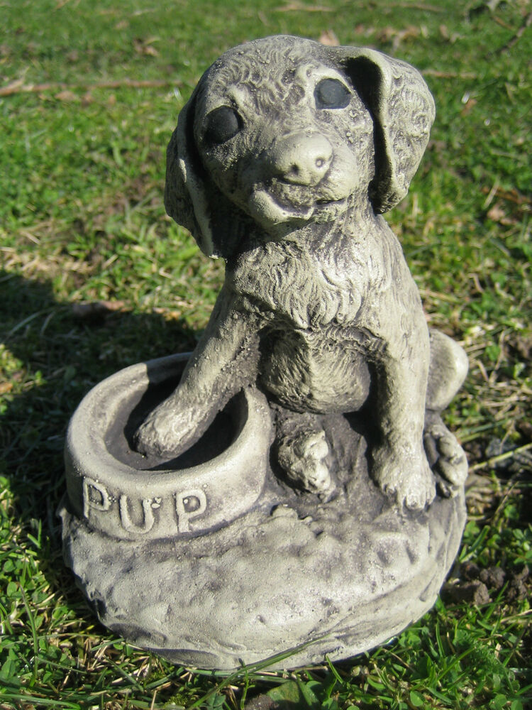 Granite Lawn Ornaments : Pup dog stone garden ornament ebay