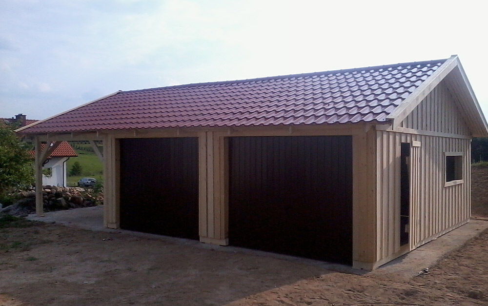 double garage wooden garage with saddle roof finished garage with carport 9m x 6m ebay. Black Bedroom Furniture Sets. Home Design Ideas