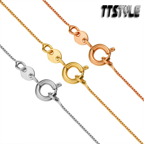 TTstyle Gold Filled Box Chain Necklace Round Clip Choose ...