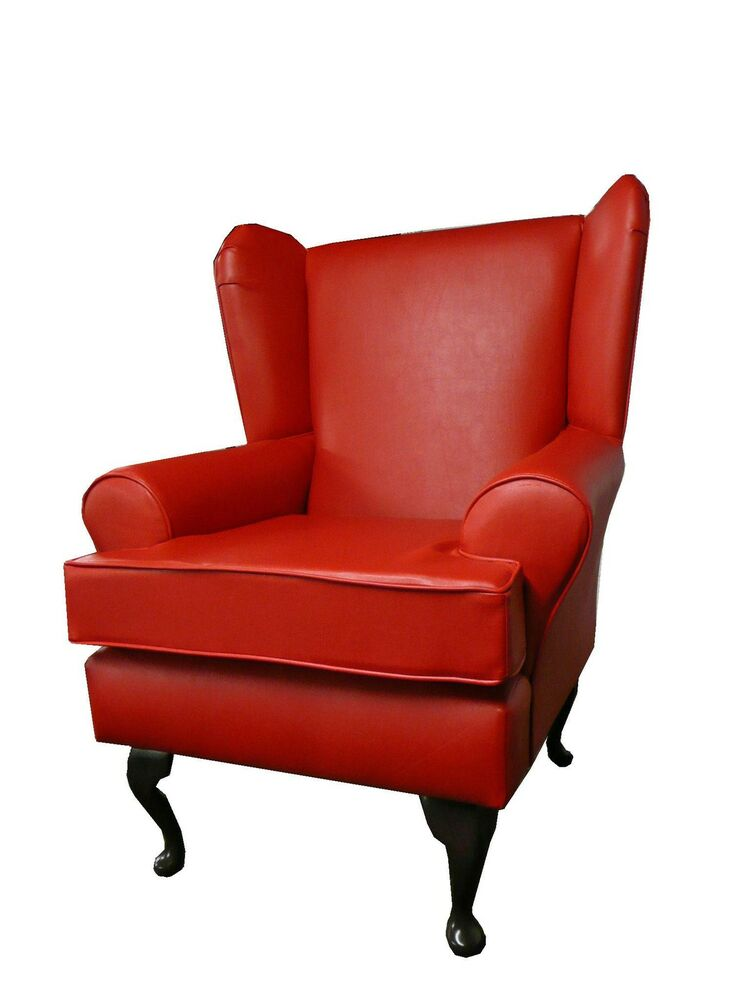 ARM CHAIR/ WING BACK CHAIR/ FIRESIDE CHAIR RED FAUX ...