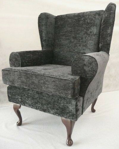 Arm Chair Wing Back Chair Fireside Chair Grey Chenille