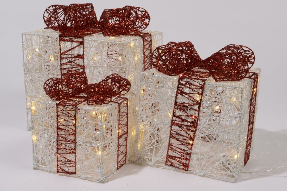 Set Of 3 Led Indoor Christmas Lights Christmas Gift Boxes