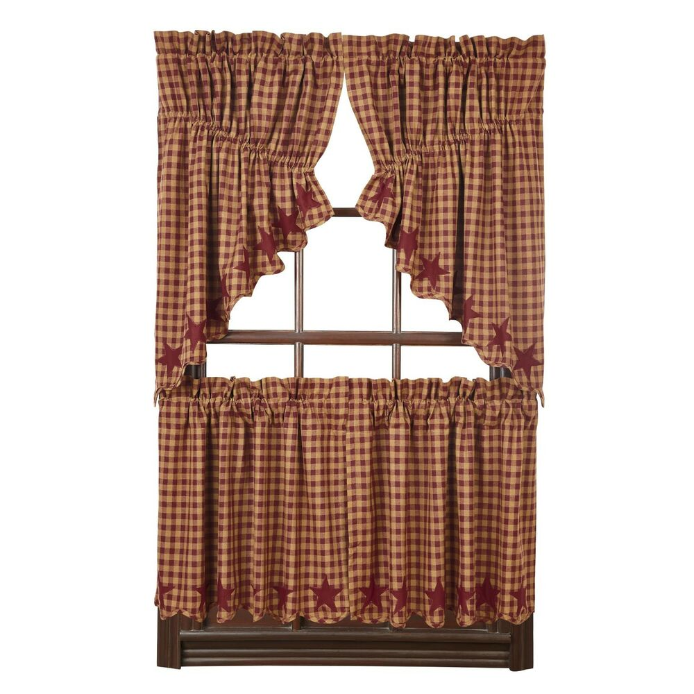 Burgundy Star Scalloped Prairie Swag Set Rustic Applique