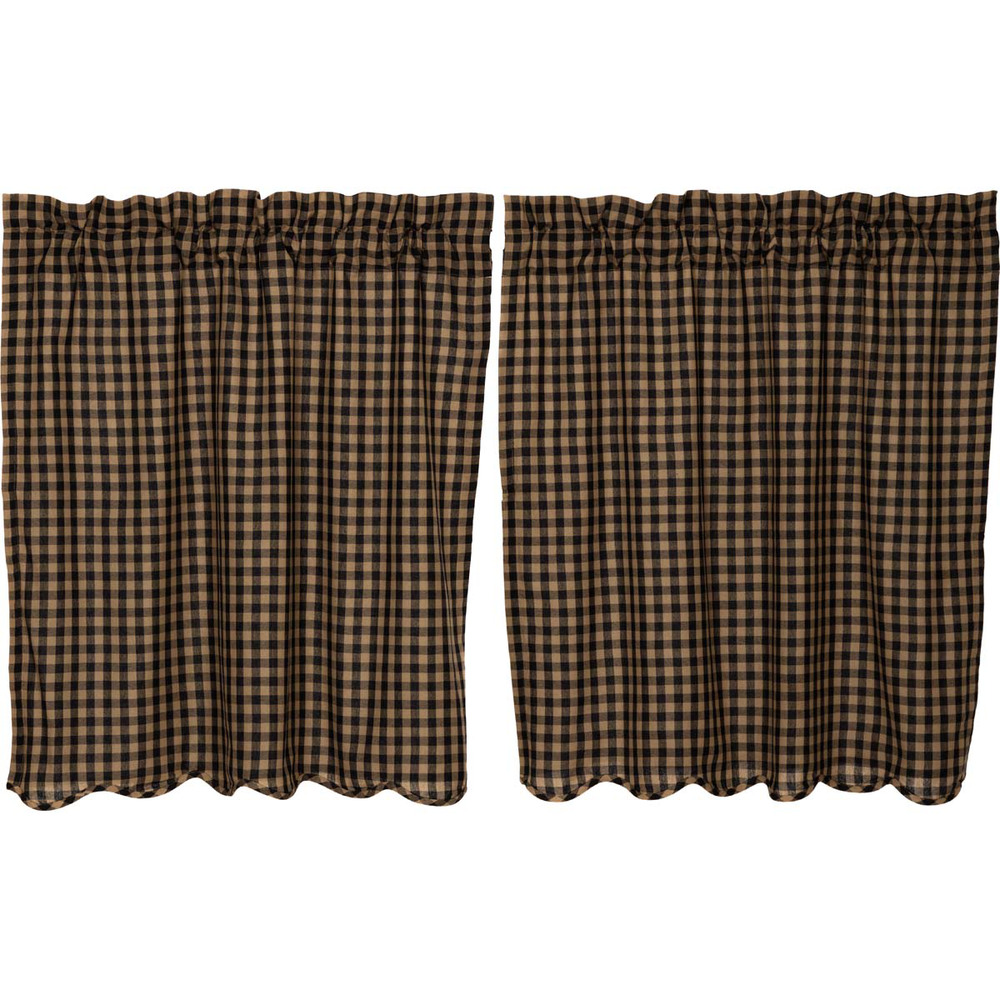 BLACK CHECK Scalloped Tier Set Rustic Plaid Khaki Country