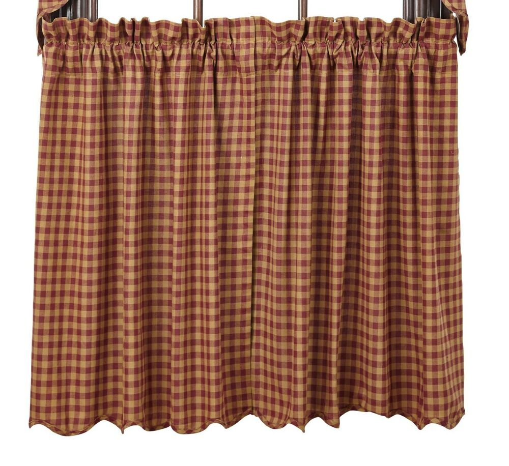 Burgundy Check Scalloped Tier Set Rustic Plaid Khaki