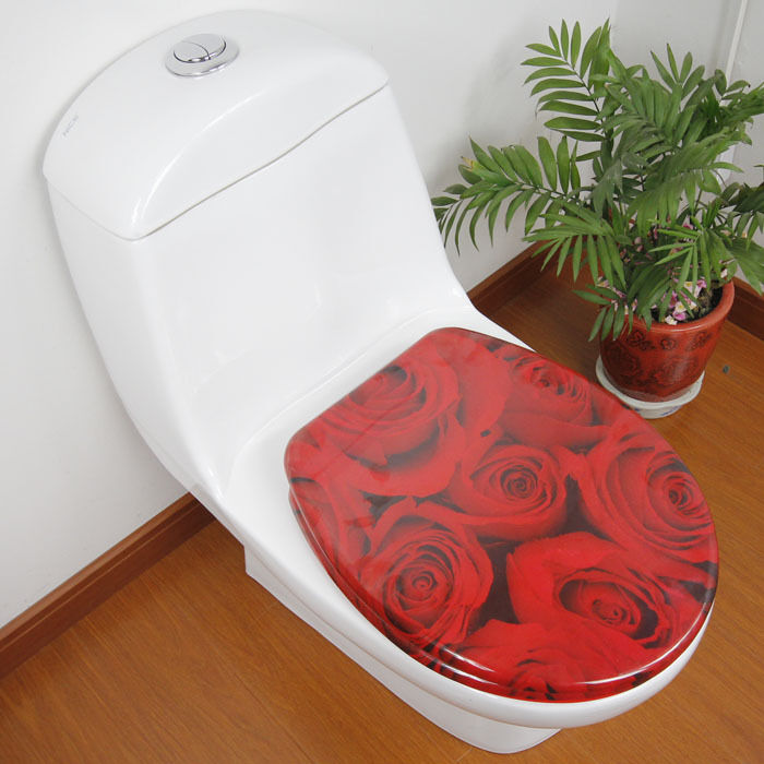 Red Rose Bathroom Accessories Safety Resin Toilet Seat