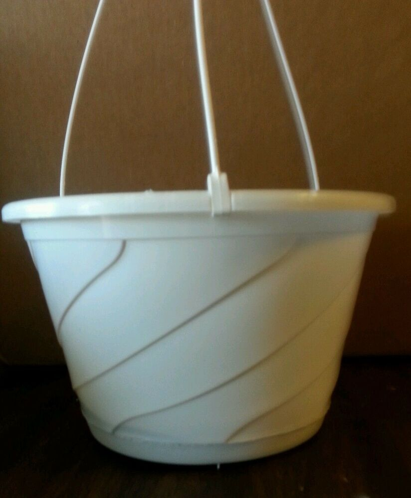 Plastic Hanging Baskets For Plants: 10 Inch WHITE HANGING BASKETS Plastic CONTEMPO