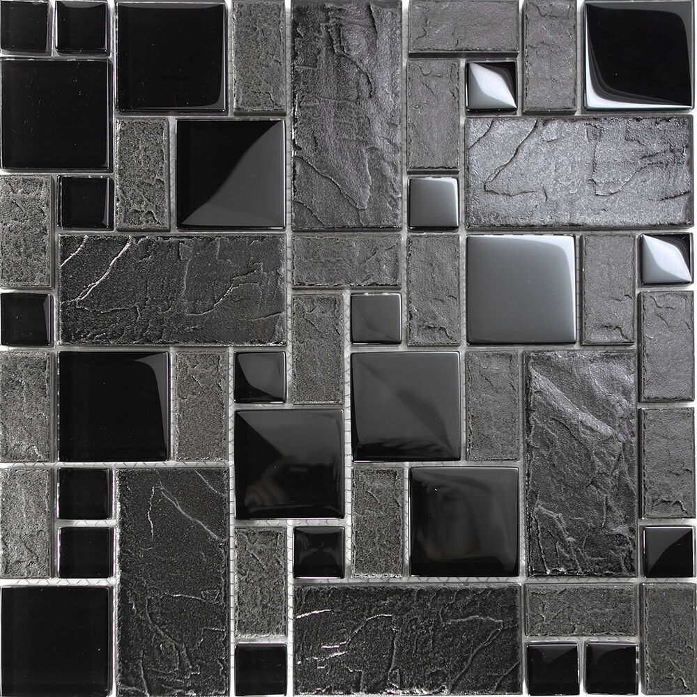 tile patterns for kitchen walls 10sf black glass blend pattern mosaic tile kitchen 8504