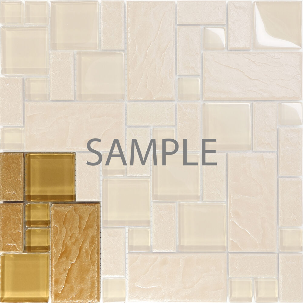 Sample Marble Green Brown Glass Linear Mosaic Tile: Sample Brown Stone Glass Blend Pattern Mosaic Tile Kitchen