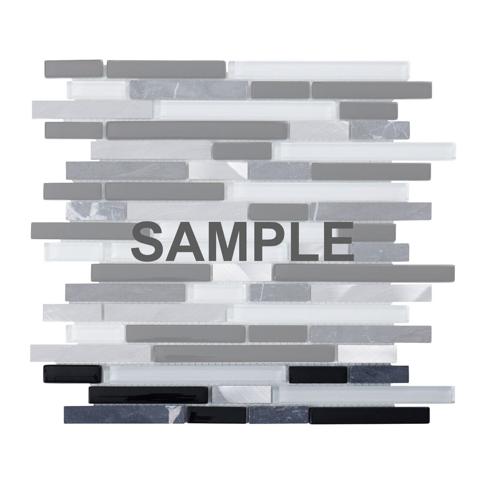 Sample Metal Stainless Steel Linear Glass Mosaic Tile: Sampl Black Gray Glass Natural Stone Metal Linear Mosaic