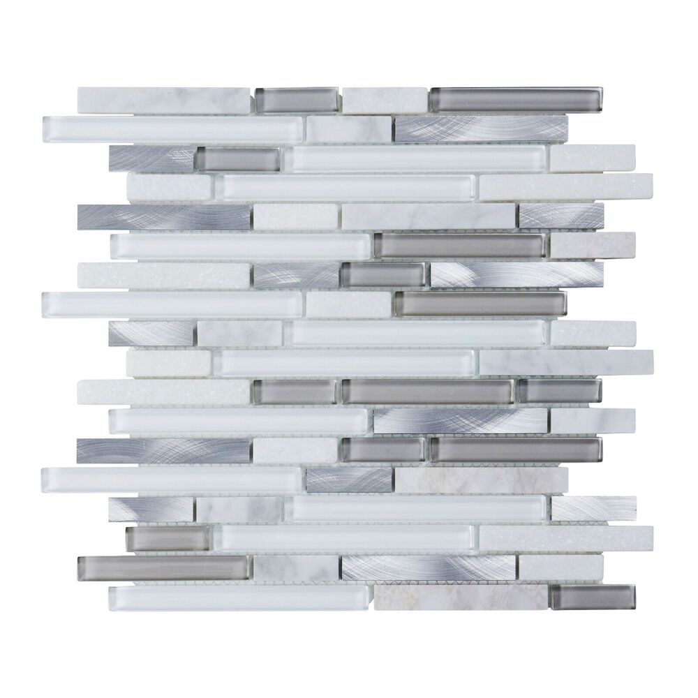 Sample Rustic Copper Linear Natural Slate Blend Mosaic: 1SF White Glass Natural Stone Metal Linear Glass Mosaic