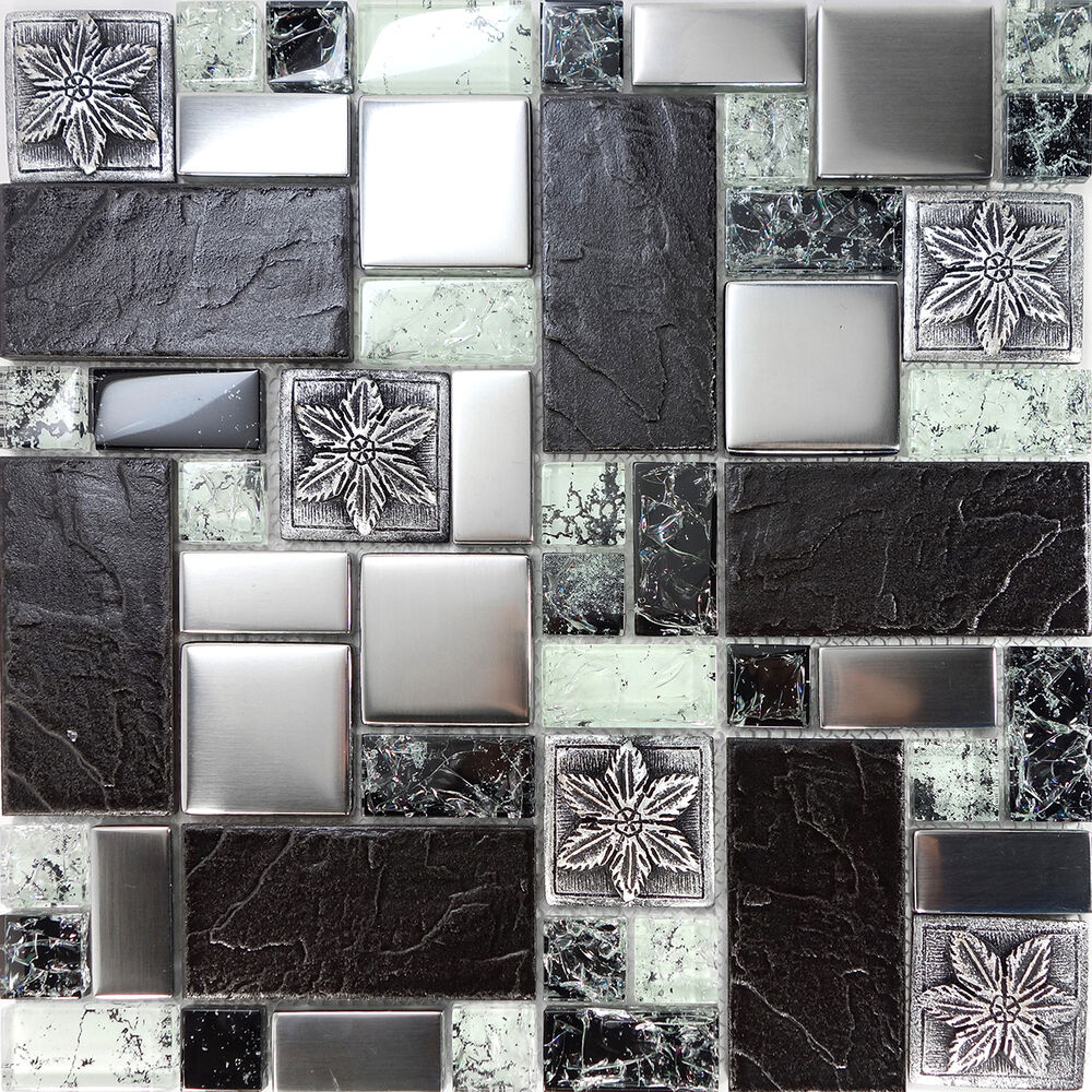 Sample Cream Crackle Glass Mosaic Tile Kitchen Backsplash: Sample Black Metallic Deco Insert Crackle Glass Mosaic