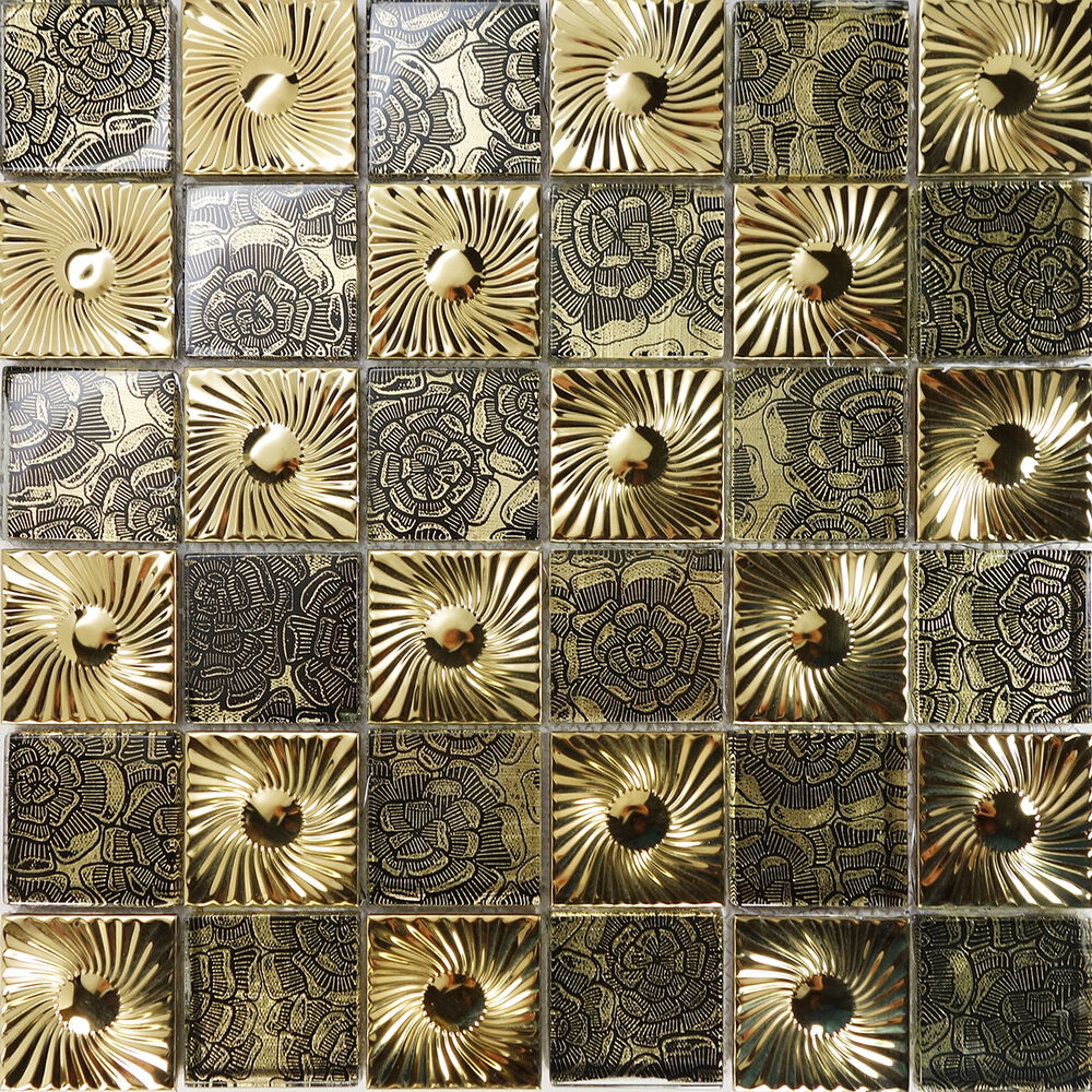 Sample Black Metallic Deco Insert Crackle Glass Mosaic: Sample Gold Floral Metal Decor Insert Glass Mosaic Tile