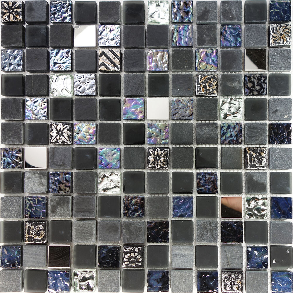 1SF Black Iridescent Floral Insert Glass Stone Mosaic Tile