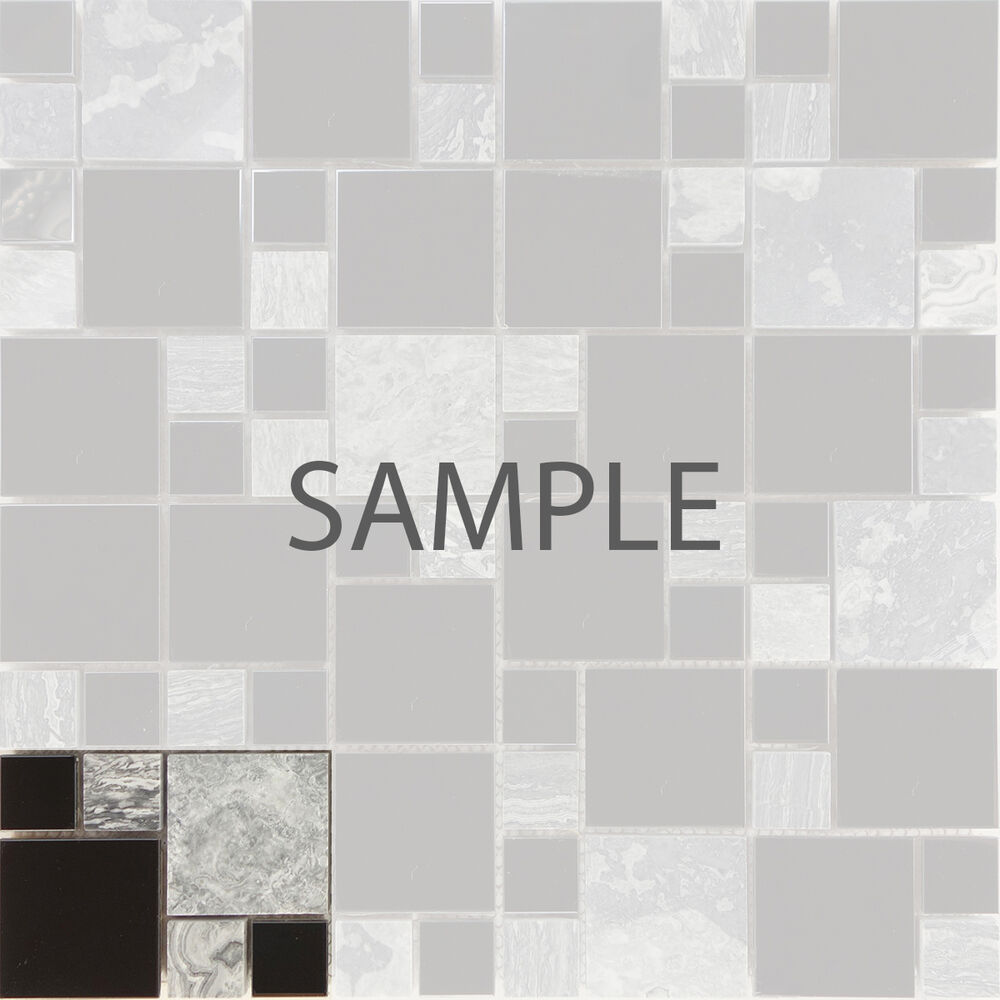 Sample Gray Natural Stone Chrome Metal Blends Mosaic Tile ...