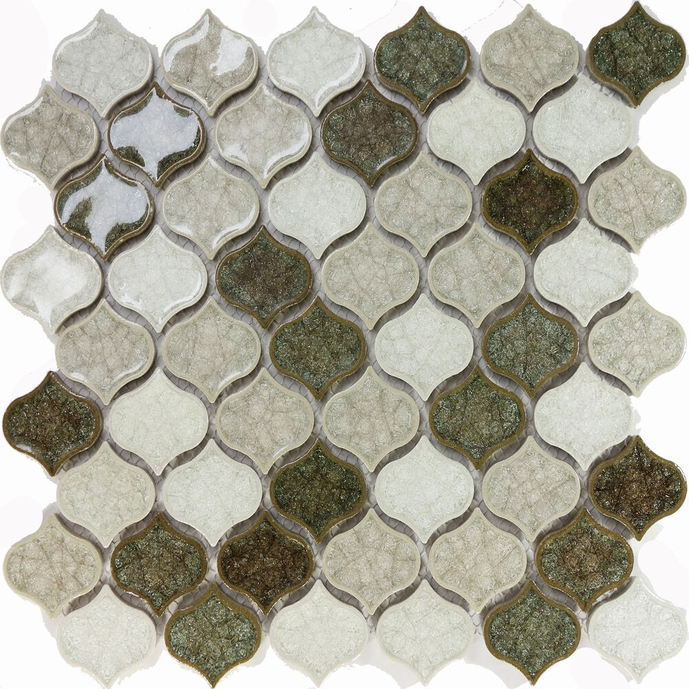 Sample Cream Crackle Glass Mosaic Tile Kitchen Backsplash: Sample Green White Crackle Glass Pattern Blend Mosaic Tile