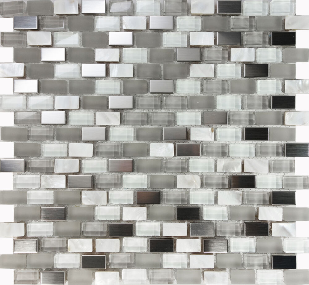 1SF White Glass Mother Of Pearl Stainless Steel Mosaic