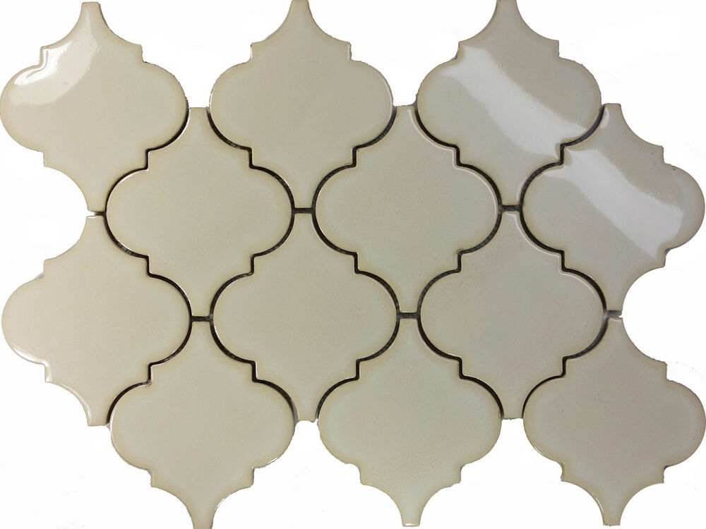 Sample Antique White Porcelain Moroccan Pattern Mosaic