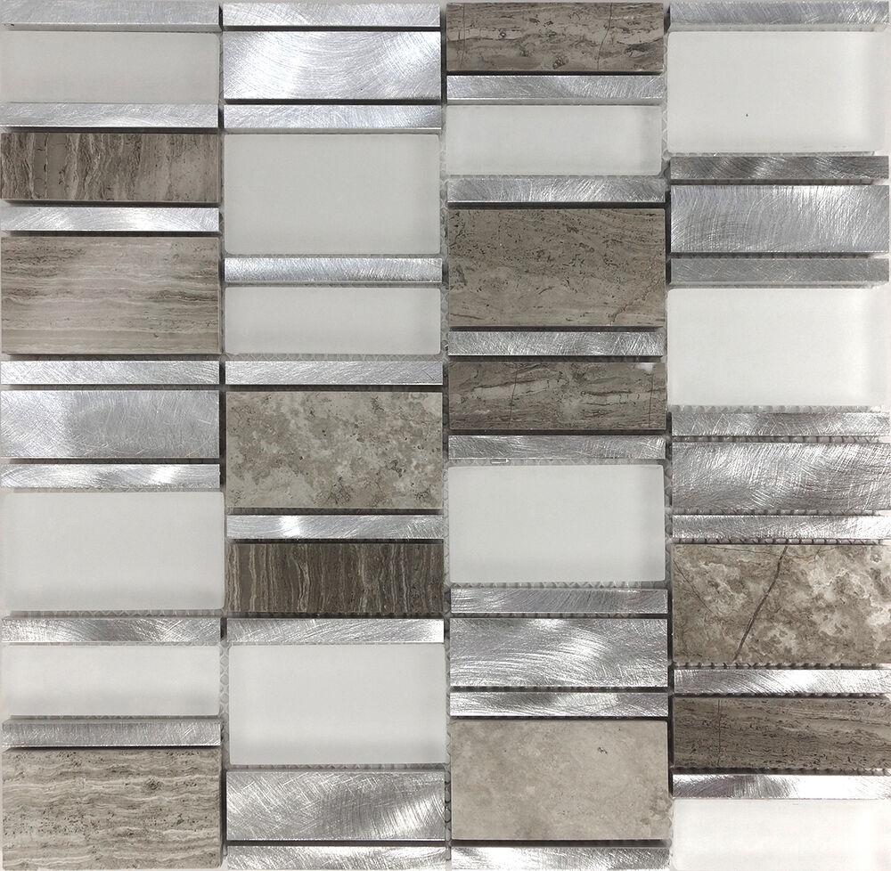 Sample Brown Glass Natural Stone Linear Mosaic Tile Wall: Sample Gray Metal Glass Natural Stone Blend Mosaic Tile