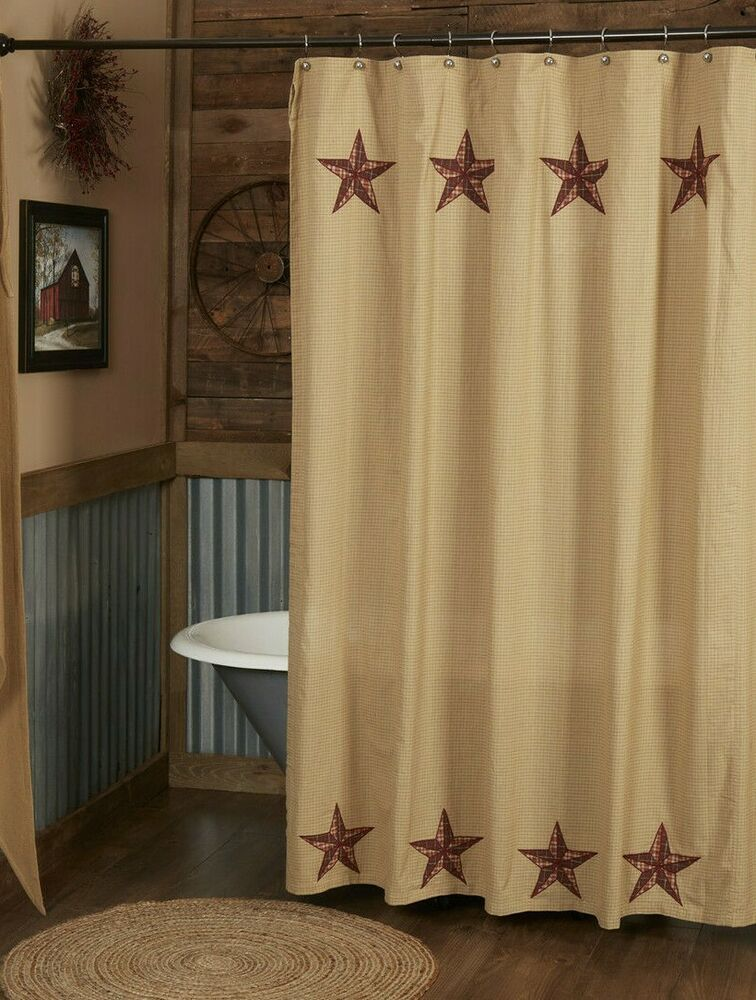 LANDON Shower Curtain Appliqued Stars Country Rustic