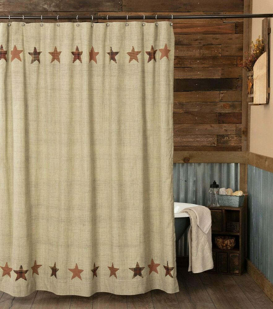Abilene star shower curtain appliqued stars country rustic for Star material for curtains
