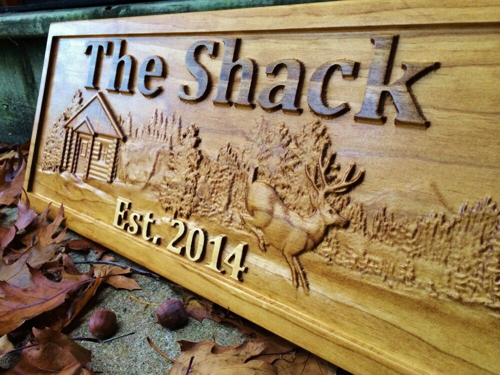 Personalized wood sign custom cabin lakehouse camper deer