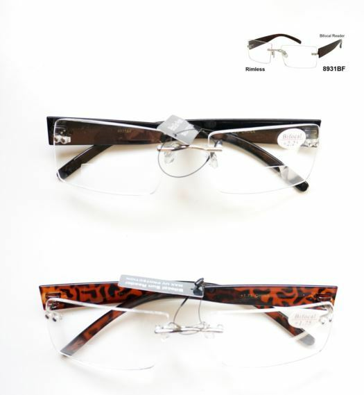 Glasses Frame Cleaner : Bifocal Rimless Frame Plastic Temple Glasses Reader Clean ...