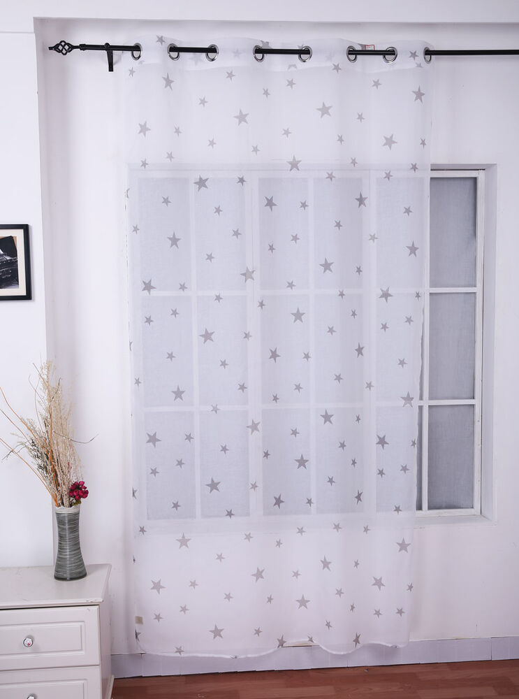 Beautiful White Sheer Voile Window Panel Grey Star Eyelet Curtains 55 ...