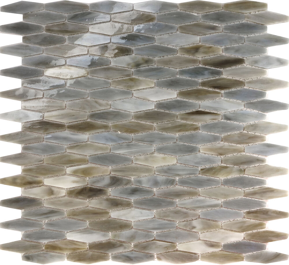 Sample Gray Hexagon Stained Glass Mosaic Tile Kitchen