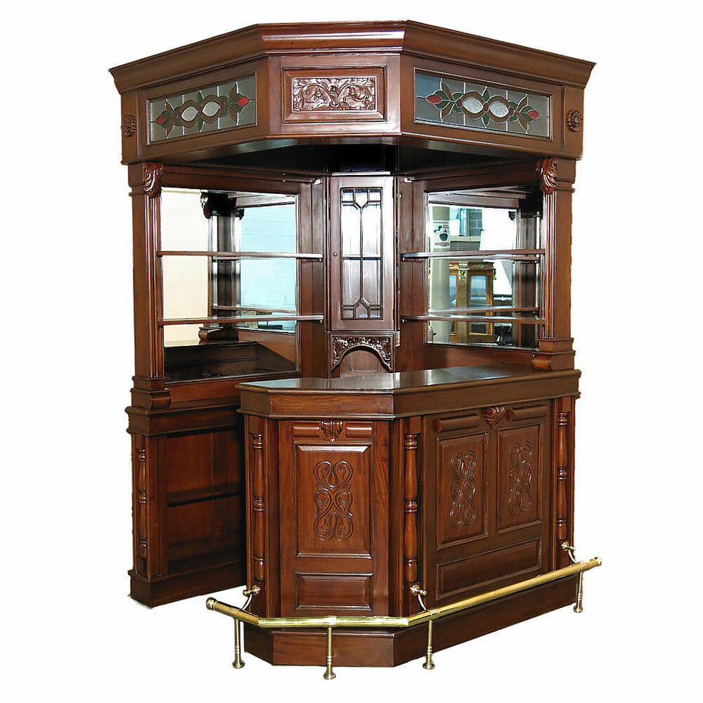 glass bar cabinet solid mahogany canopy corner bar w lead stained glass so 15806