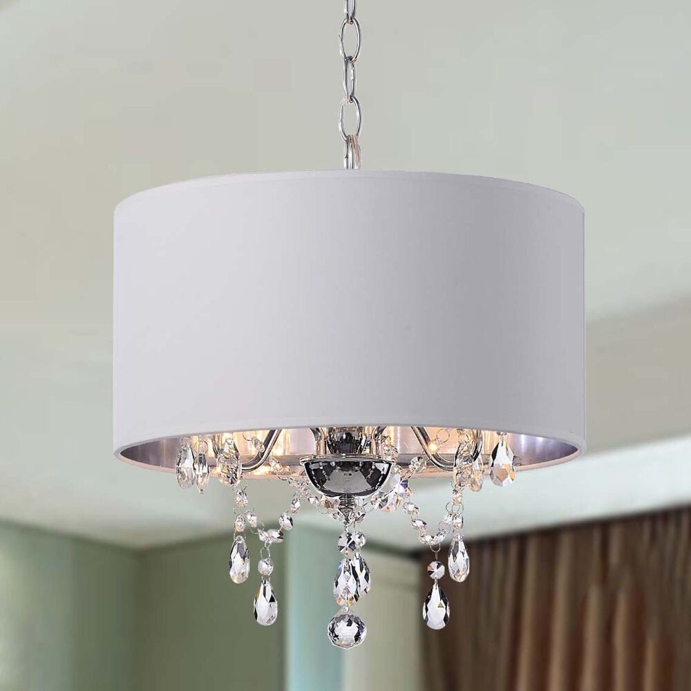 Elegant 3 light crystal chandelier drum lamp ceiling fixture pendant lighting ebay - Chandelier ceiling lamp ...