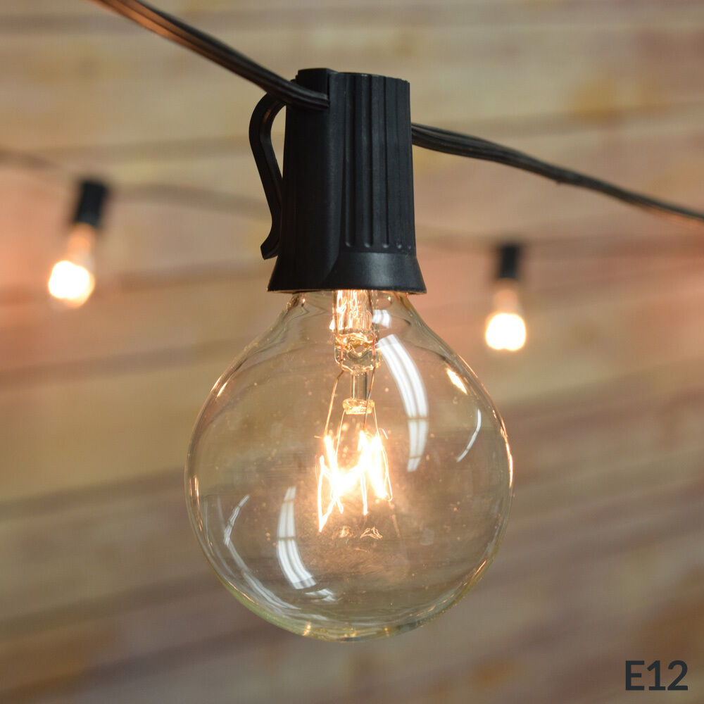 Clear Globe Patio String Lights : 10 Socket Outdoor Patio String Light Set, G40 Globe Bulbs, 12 FT Black Cord eBay