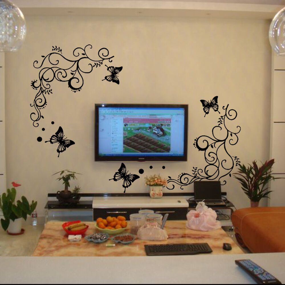 Diy butterfly feifei flowers vine art wall decal stickers for Diy wall mural