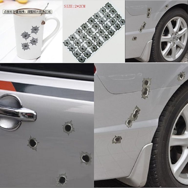 bullet hole stickers car interior design. Black Bedroom Furniture Sets. Home Design Ideas