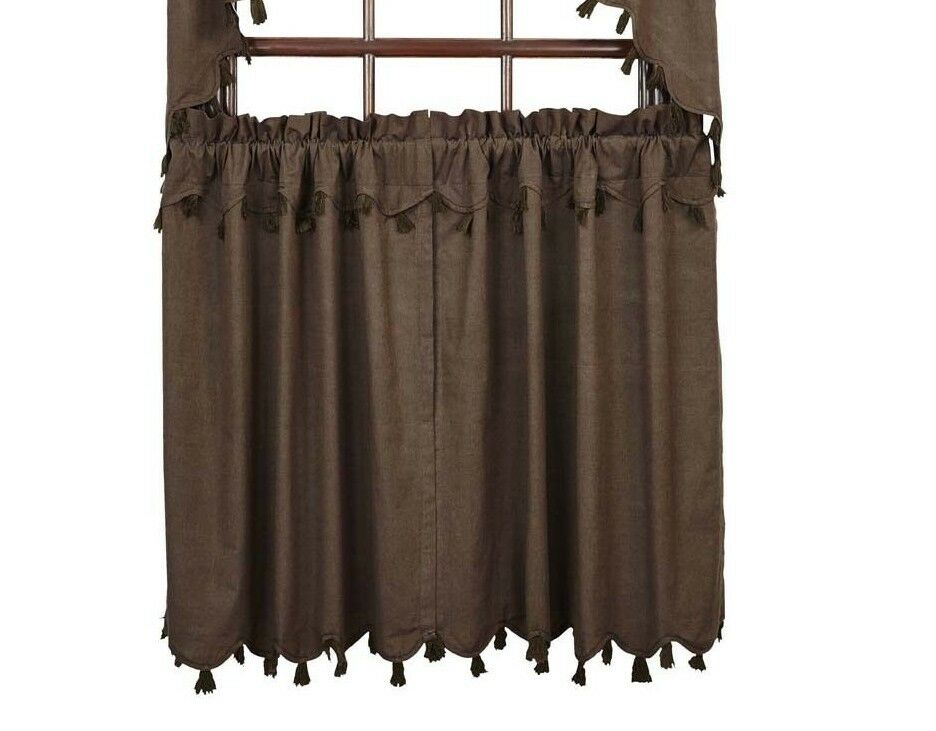 Rustic burlap window treatments - Set Cafe Curtains Window Brown Country Tassels Rustic 36 Quot Vhc Ebay