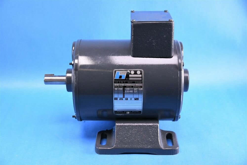 Howell 1 2 hp motor 1725 rpm 3ph 2a 220v and 1a for 1 2 hp motor