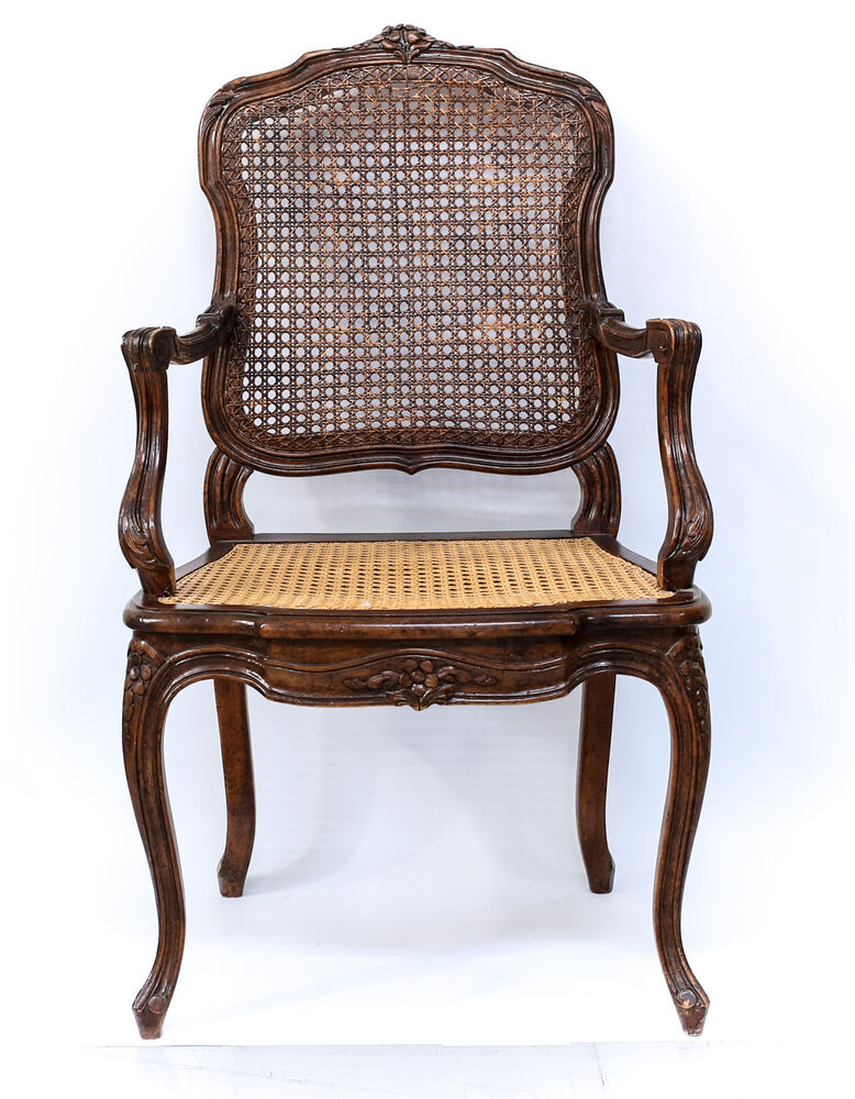 French cane backed chair th century finely hand carved