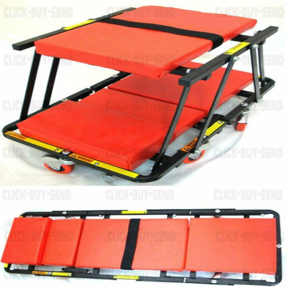 Deluxe foldable creeper garage workshop mechanics mechanic for Garage seat aubagne
