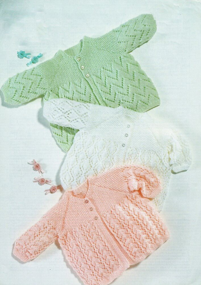 Free 4 Ply Knitting Patterns For Baby Blankets : Baby Lace Cardigans/Coats Knitting Pattern 14-20