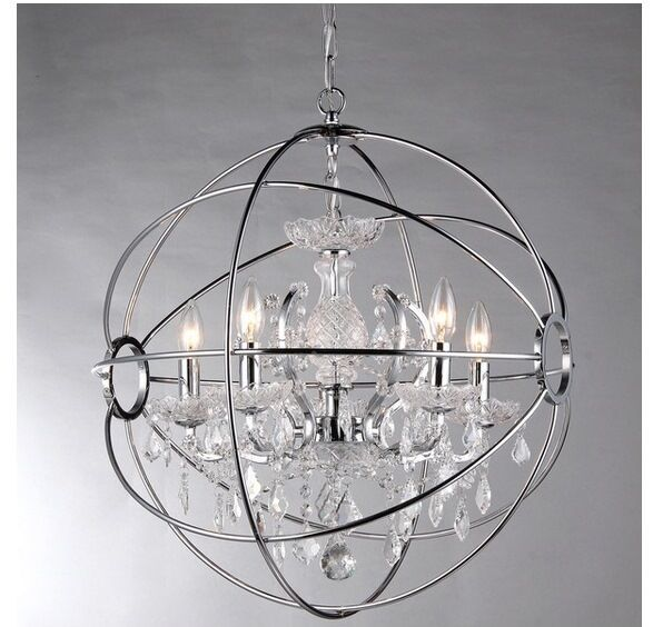 New Modern 4 Light Orb Ball Crystal Chrome Chandelier