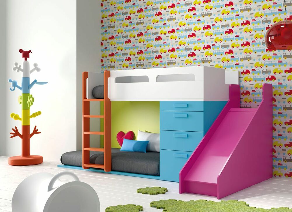 kinderzimmer infinity mit hochbett rutsche leiter in 41 farben stauraum bett ebay. Black Bedroom Furniture Sets. Home Design Ideas