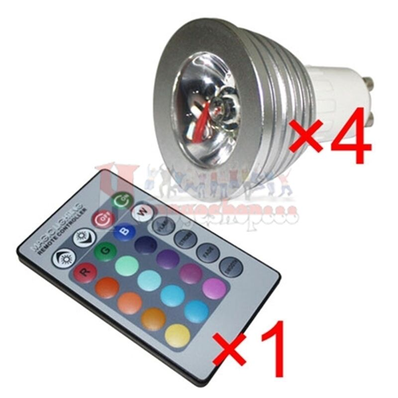 4x gu10 3w 16 color changing rgb led light bulb lamp 85 265v ir remote control ebay. Black Bedroom Furniture Sets. Home Design Ideas