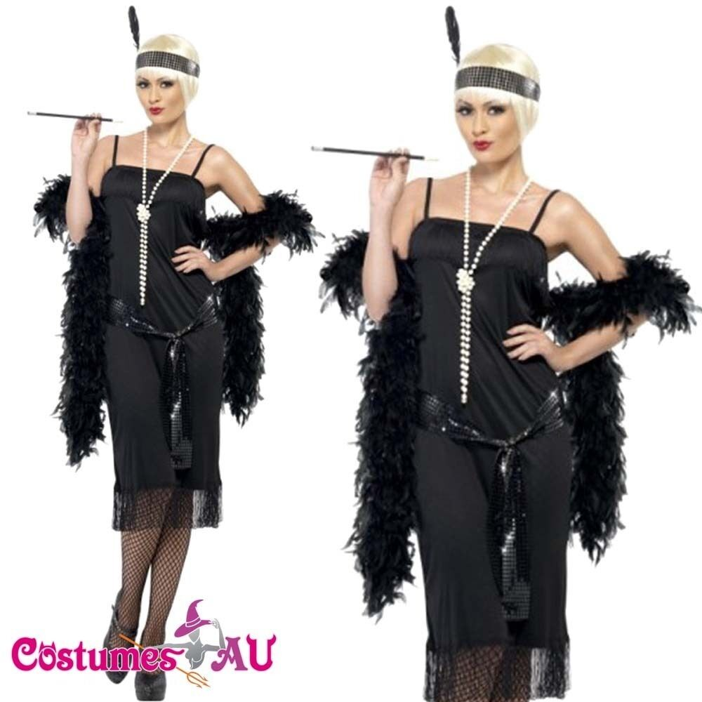 ladies 1920s 20s black flapper costume charleston gatsby