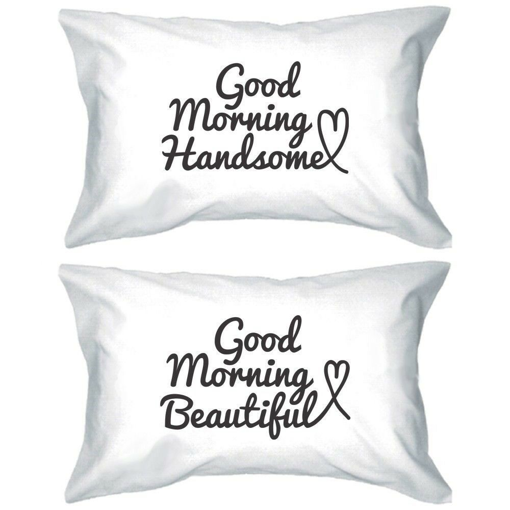 His and Hers Matching Pillowcases - Good Morning Couple Pillow Covers (Set of 2) eBay