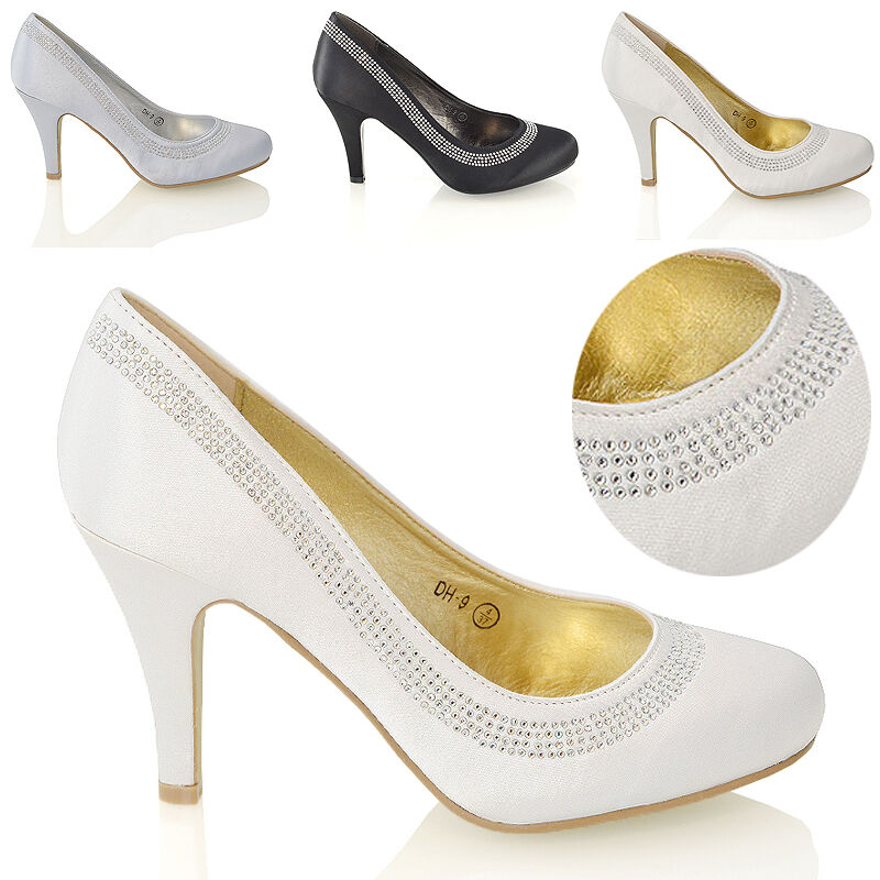 41815fe9b4c Details about Womens Wedding Shoes Classic Heel Ladies Diamante Party Prom  Slip On Pumps Size