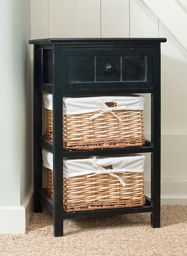 Brand New Black Shabby Chic Tall Bedside Unit With Wicker