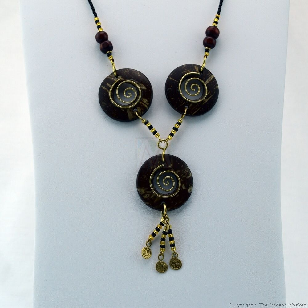 Maasai Market African Jewelry Masai Copper Wire Wood Bead Necklace ...