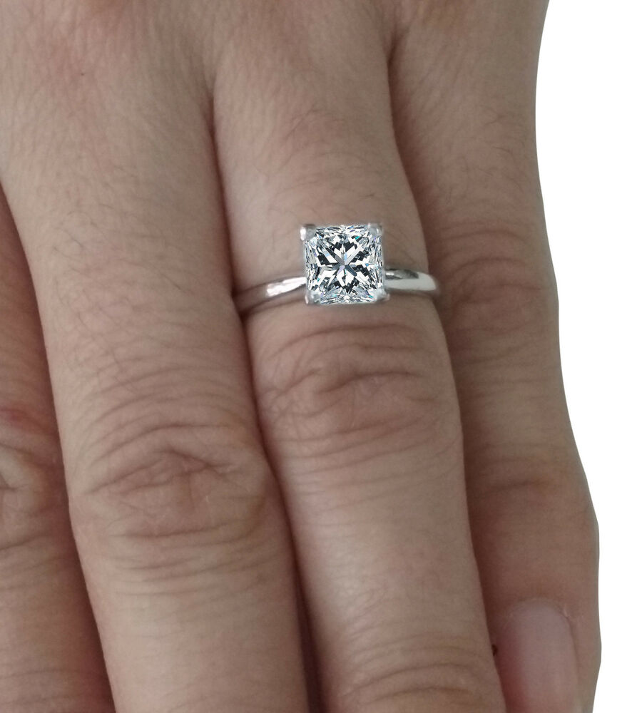Engagement Ring Solitaire 14k Real White Gold 1 50 Ct