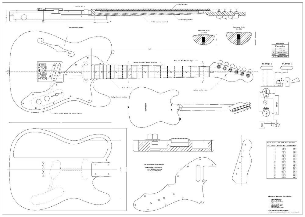 fender tele thinline 69 electric guitar plans actual size full scale drawing ebay. Black Bedroom Furniture Sets. Home Design Ideas