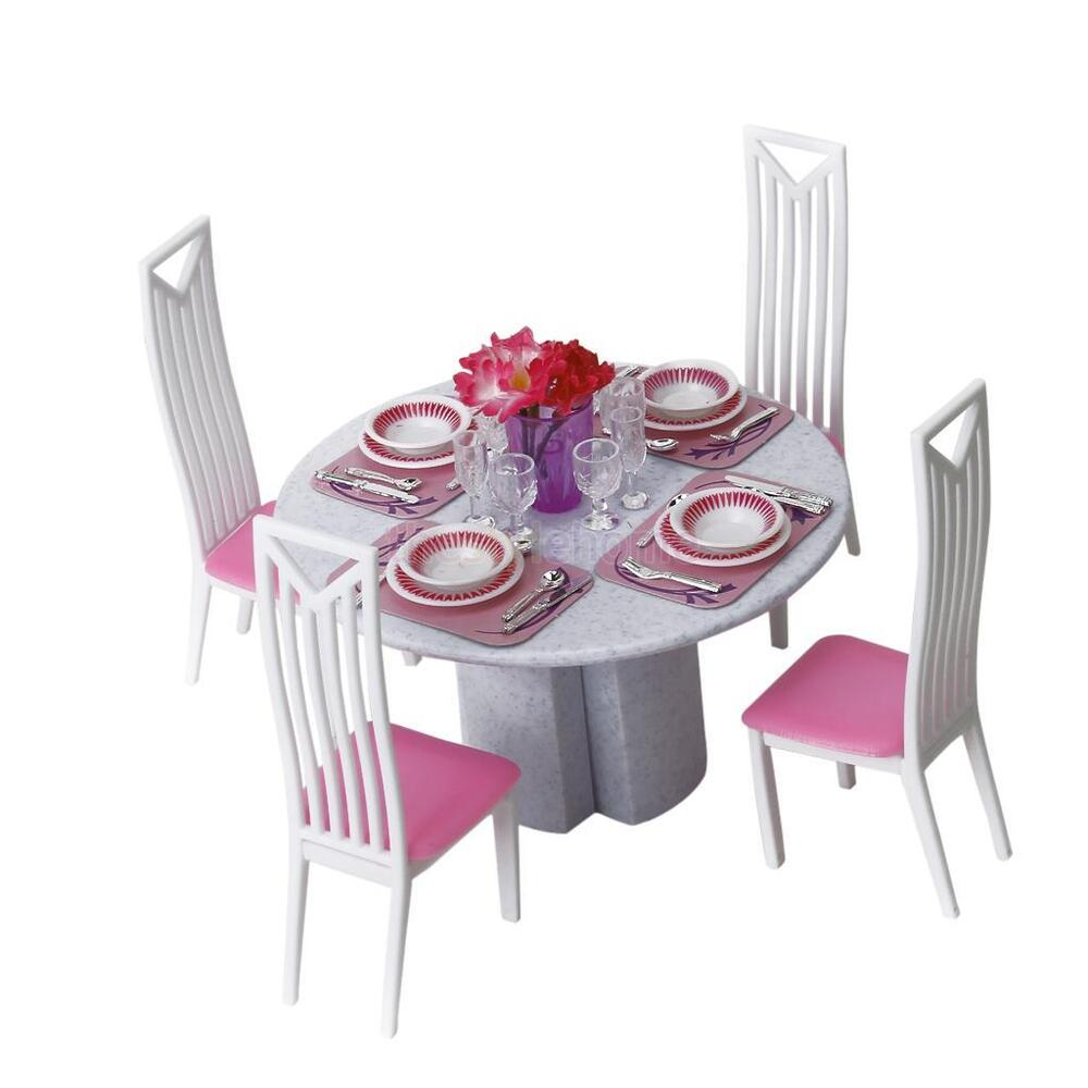 barbie sized doll dining room furniture 4 chairs tableware dishes table play set ebay. Black Bedroom Furniture Sets. Home Design Ideas
